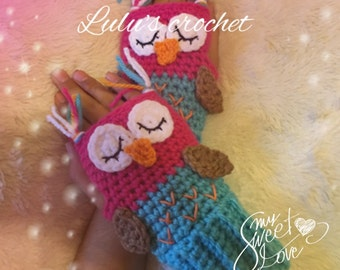 OWL fingerless, mittens for kids, gift for Christmas, costumes, crochet fingerless