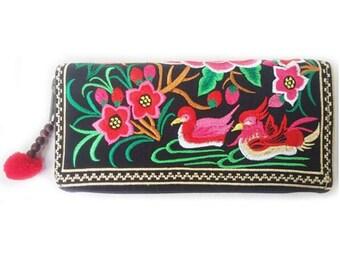 Teal striped pink wallet