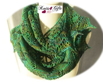 Young Broken Hearts - hand knitted lace shawl green tonals crescent soft airy lightweight handmade