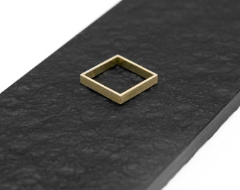 Square Handmade Brass Ring