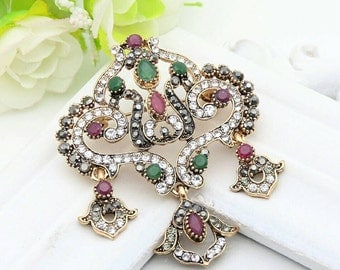 Turkish ruby emerald sapphire brooch and pendant two in one