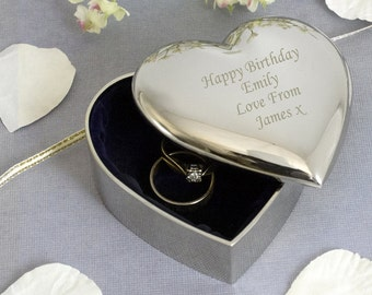 Personalised Engraved Silver Heart Shaped Trinket Box - Birthday Christmas Gift For Her