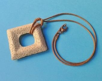 Pendant necklace, lava stone aromatherapy diffuser, jewelry, colorful, lava, square pendant
