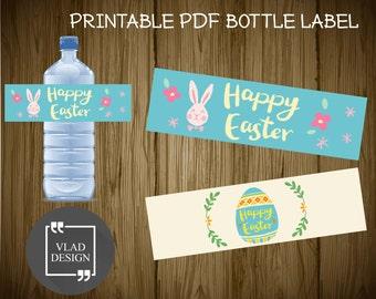 Happy Easter Printable Water Bottle Labels DIY Easter's Party Water Bottle Labels Ready to print PDF Bunny and egg water bottle label design
