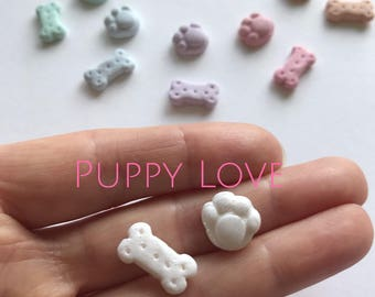ON SALE Puppy Paws and Dog Biscuit - Earrings. Available in White and an array of rainbow colours