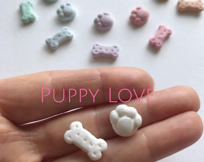 Puppy Paws and Dog Biscuit - Earrings. Available in White and an array of rainbow colours
