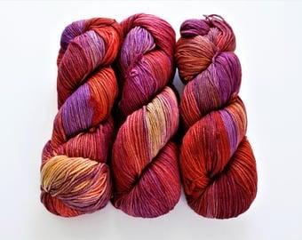 Malabrigo Arroyo Sport Weight Yarn Purple Orange Rainbow Hand-dyed Yarn