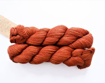 Knitting Wool, Super Soft Yarn, Luxurious Llama Wool, Worsted Weight, Aslan Trends King Baby Llama & Mulberry Silk: Rust