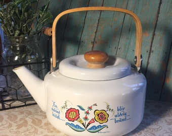 Teapot Berggren Signed Swedish Vintage Folk Art
