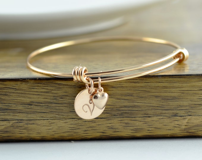 Rose Gold Heart Bracelet -Personalized Initial Bracelet - Personalized Hand Stamped Bracelet - Bridesmaid Gift- Rose Gold Jewelry