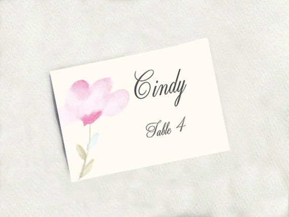 diy place card template watercolor tranquility elegant diy