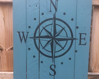 Compass sign/wall hanging sign / Nautical sign / sign with Rope / Home decor / Beach House sign / Lake House sign / Vacation Home sign