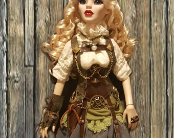 Tonner- Evangeline Ghastly, Parnilla - Western Style Steampunk Victorian Corset Bustle Dress Set