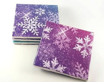 Rainbow Snowflake Coasters – Christmas Coasters – Ceramic Tile Coasters – Drink Coasters – Christmas Gift – Rainbow Decor – Ceramic Coasters