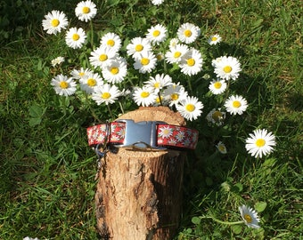 "Dog collar ""Edelweiss red"""
