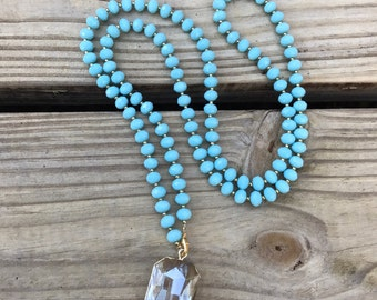 Beaded crystal pendant necklace