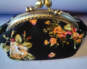 """small wallet """"flowers on a black background"""""""