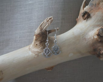 Anchor with Wheel - Silver-Plated Fish-Hook Earrings