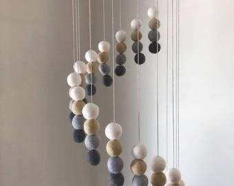 Felt Ball Mobile - Baby Mobile - Felt Balls - Cot Mobile - Nursery Decor - Spiral Pattern