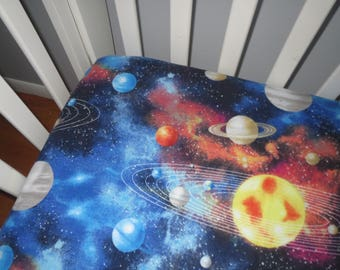 Outer Space Flannel Fitted Crib Sheet