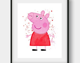 Peppa Pig Wall Art, Peppa Pig Art, Nursery Wall Art, Peppa Pig  Watercolor, Peppa Pig Artwork, Peppa Pig Print, Nursery Print, Kids Room Art