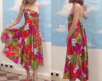 80s Vintage Dress   Flower print cotton dress   Dress 80s   Vintage dress   Flower print dress   80s vintage   80s dress
