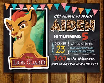 Lion Guard Invitation, Lion Guard Invite, Printable Lion Guard Invite, Lion Guard Birthday Invitation, Lion Guard Thank You Card | MLG_02