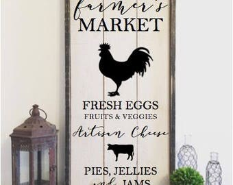 Farmers market sign, framed shiplap, vintage wood sign