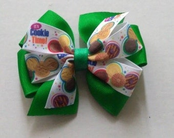 Girl Scout inspired hair bow, Girl Scout cookie hair bow, Its cookie time hair bow