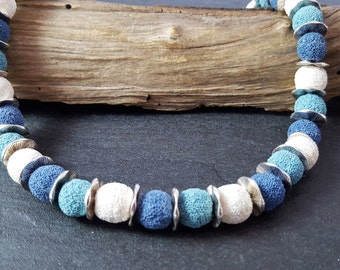 Necklace lava blue