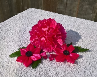 Deep pink flower hair clips