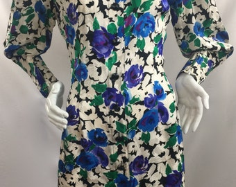 Vintage 1980's Maggy London by Jeannene Booher Multi-Colored Floral Print Dress with Leg of Mutton (Puffy) Styled Sleeve-100% Silk-Size 12