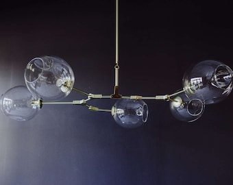 Modern Chandelier, Branching Bubble Style, 5 light gold and clear glass, midcentury