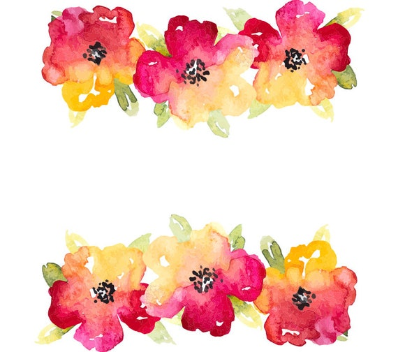 Watercolour flower background clip art graphic design png - High resolution watercolor flowers ...