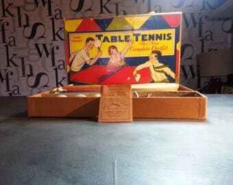Vintage Table Tennis Set Gold Medal set #666  by Transogram Co Ping Pong Game FREE SHIPPING
