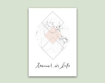 Poster, print, marble, forms, geometric, travel, travel, world, world