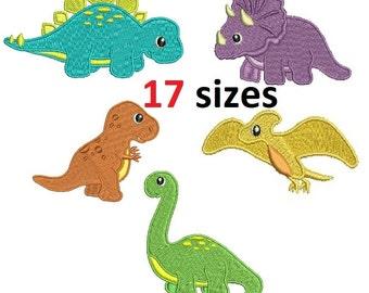 Dinosaurs Triceratops Diplodocus Stegosaurus Tyrannosaurus Pterodactyl Machine Embroidery Fill Design Instant Download ER708_712