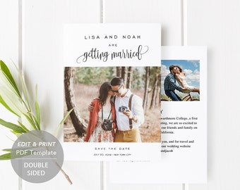 Printable Save-the-Date Template, Save the Date Invitation, DIY Wedding Engagement Invite Card, PDF Instant Download, Photo Card, #SPP013sdp