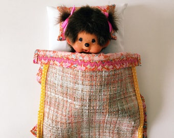 Bed linen for pop or hug-cot for pop-cot for hug-case for pop-toys suitcase with bed-monchhichi toys