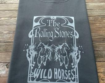 Men's Rolling Stones Inspired T Shirt Wild Horses Vintage Style 1970s Tribute Design Jagger Richards Sticky Fingers