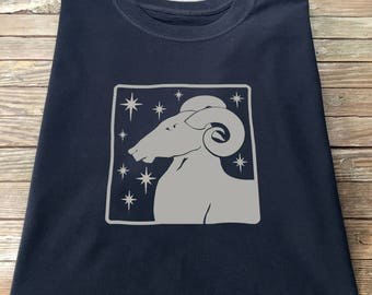 Aries T Shirt Arts and Craft Nouveau Tile Style Astrology Zodiac Horoscope