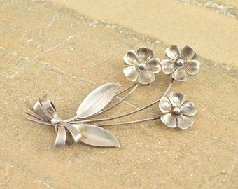 Flowers With Bow 3D Pin / Brooch Sterling Silver 6g