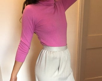Vintage 90s Orchid Pink 100% Cashmere TurtleNeck Sweater | XS-S