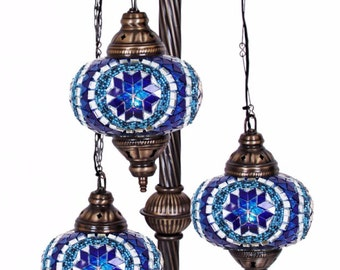 Three Globe Mosaic Lamp