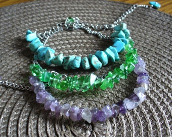 Amethyst\Chrysolite\Howlite beaded bracelet,Stone bracelet,Jade bracelet,Small  stone bracelet,minimalism bracelet