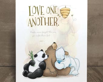 Children's art print, bear, nursery art, kid character trait, respect
