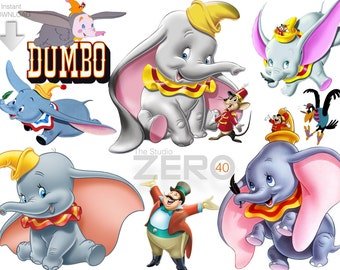 40 Disney Dumbo Clipart, Instant Download, 300DPI - Printable Iron On Transfer or Use as Clip Art - DIY Disney , Dumbo Clipart