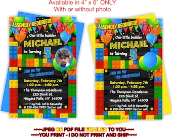 Building Blocks, Birthday Invite, Invitation Building, Blocks, Building, Block Party Invite -BIRINV28R