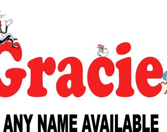 Dr. Seuss The Cat in the Hat Personalized Name Iron on Transfer