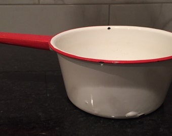 White Enamel Pot with Red Trim